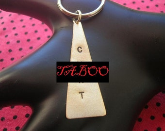 C .NT Keychain--Stamped Brass Triangle Keychain, Men's Keychain, Sex, Whore, Slut, Unisex, Metal Keychain, Mature, Metal Taboo