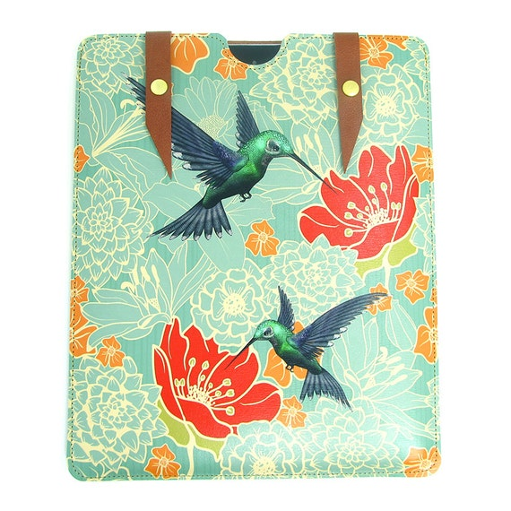 Leather iPad case - Hummingbirds in floral bliss
