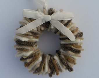 Rescued Wool Wreath Ornament - Sweater Wreath in Sand - recycled  wool wreath by alicia todd
