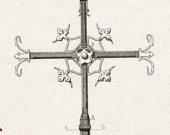 1880 French Antique Engraving of Decorative and Architectural Metalwork. Cross Arrow at Notre Dame de Paris. Plate 20