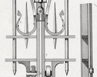 1880 French Antique Engraving of Decorative and Architectural Metalwork. Porch Gate at Church of St. Martin in Brive. Plate 11