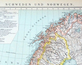 Antique Map of Sweden and Norway - 1894 Vintage Map