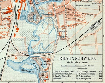 1895 German Vintage Map of Braunschweig (Version 2) - Vintage City Map - Old City Map