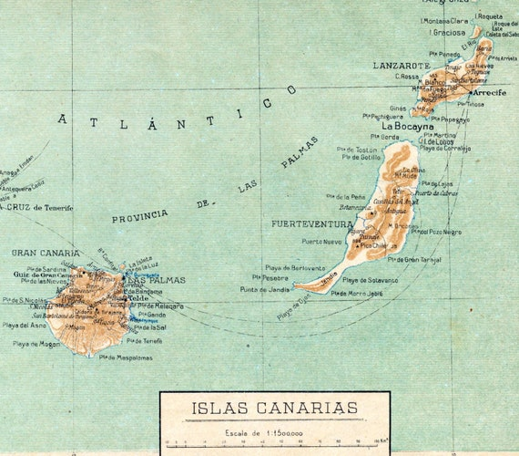 1940 Spanish Vintage Map of the Canary Islands / Islas Canarias
