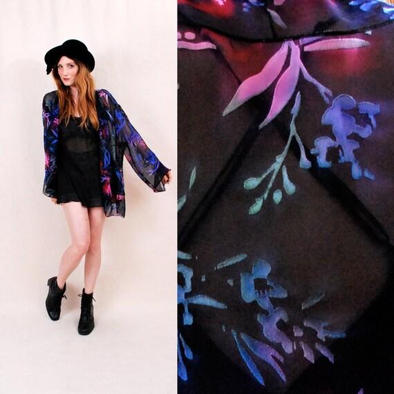 Vintage sheer silk velvet jacket, floral print, velvet burnout, sheer black blouse, piano shawl jacket - FREE Worldwide Shipping