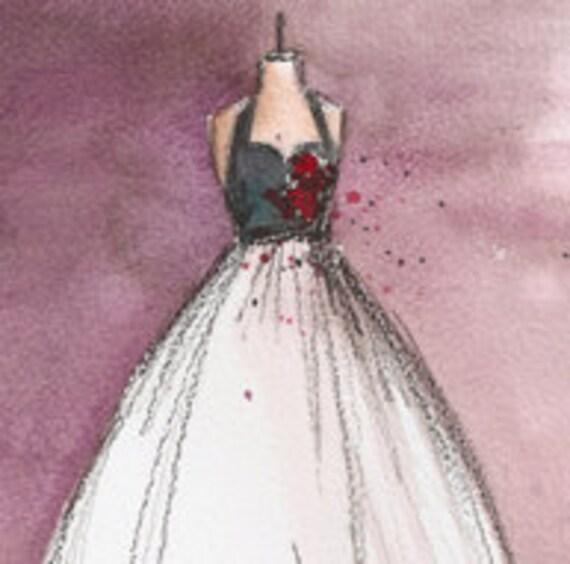 Original - Watercolor and Charcoal - Vintage Dress Painting - Vintage Rosie Dress - 8x10 - Lauren Maurer Artworks on Etsy