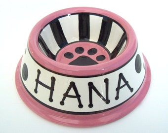 Feed Your Dog in Style - PERSONALIZED Custom Dog Bowl - Dots N' Stripes  SMALL