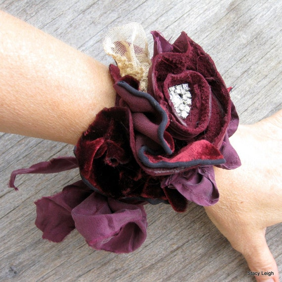 Leather and Lace Tattered Rose with Velvet and Silk Cuff by Stacy Leigh RESERVED for Ivy