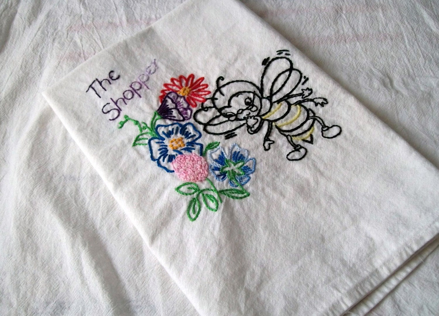 Embroidered Dish Towel Flour Sack Towel Embroidery Bee