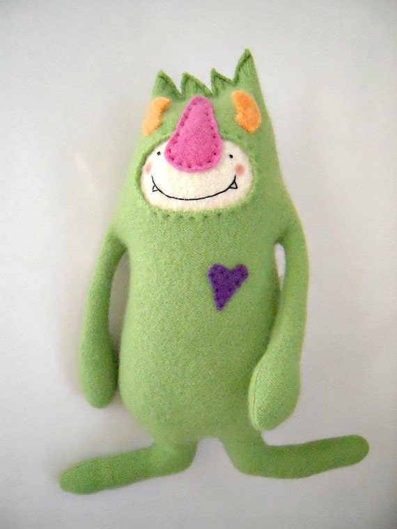 Cashmere Stuffed Animal Monster Upcycled Repurposed