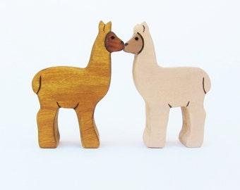 Pair of Alpacas Wooden waldorf llama toy- Valentines kiss