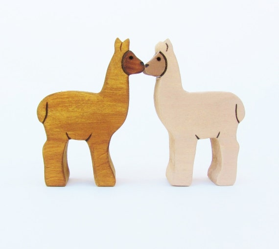 Pair of Alpacas- Wooden waldorf llama toy- Valentines kiss