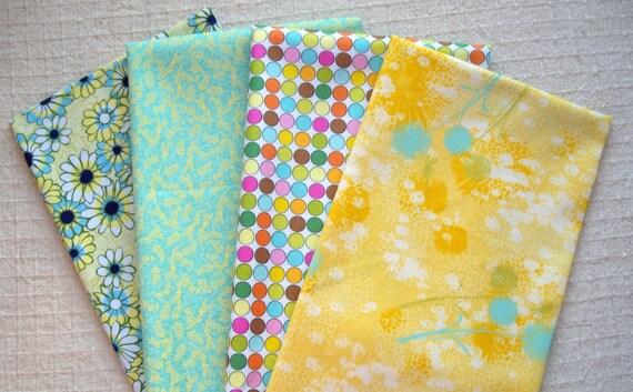 Fat Quarter Bundle - Yellow & Aqua Medley (No.109) - Designer Quilt Fabric