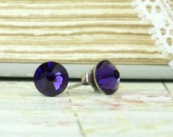 Purple Crystal Studs Purple Stud Earrings Crystal Stud Earrings Surgical Steel Studs Purple Studs