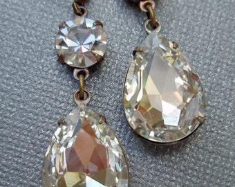 Vintage Bride Wedding Bridesmaids Earrings Estate Style Clear Crystal Drop  ANGELINA Crystal