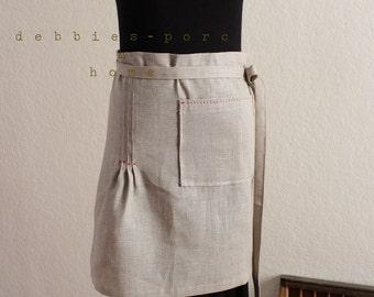 natural linen cafe apron