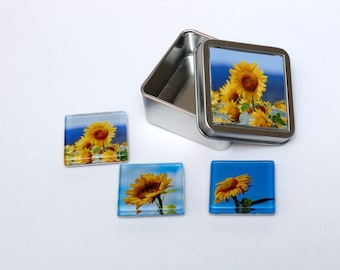 Sunflower Magnets with Gift Tin