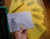 cicada on sunshine yellow paper stationery letter set with matching envelope