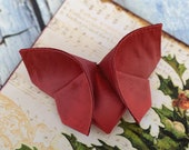 Red Silk Butterfly Broach Brooch Silk Origami Red and Wine Burgundy LARGE SIZE Christmas Brooch