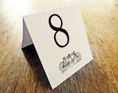 Printable Table Number - Table Number Template - Instant Download - Wedding Table Number PDF - Tandem Bicycle Table Number - Black Tandem