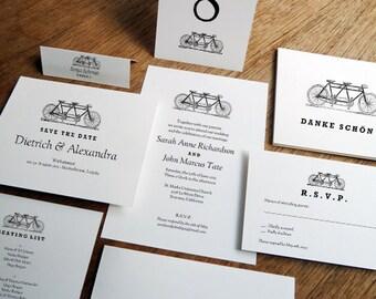 Printable Wedding Invitation Kit - Tandem Bicycle - Black & White Wedding Printables - Instant Download - Wedding Invite Templates - PDFs
