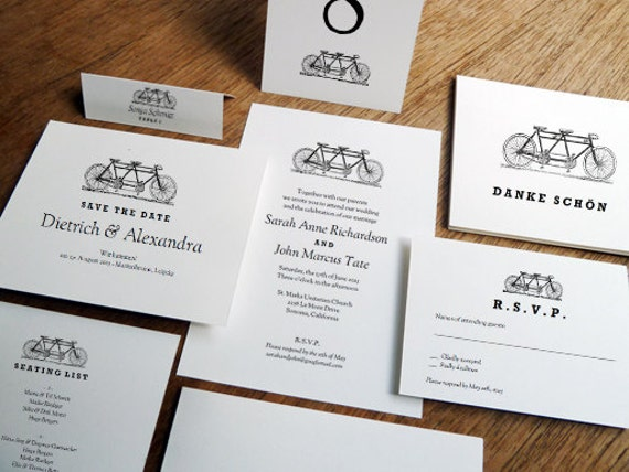 Printable Wedding Invitations Kits: Printable Wedding Invitation Kit Tandem Bicycle Black