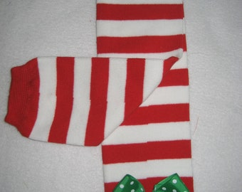 Boutique baby legwarmers Christmas red and white stripe with bow