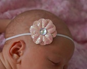 Baby Sparkly headband...Pink Flower, BlacK, or Champagne...Newborn headbands...perfect for infant toddler girl teen or women