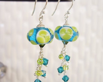 Early Morning Surf - Lampwork Glass, Sterling Silver, Swarovski Crystal, Miyuki Bead, Teal Blue, Lime Green, Ocean, Made in Hawaii