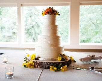 "10"" Rustic Wood Tree Slice Wedding Cake Base or Cupcake Stand for your Event and Party or even a Newborn Photo Prop - Centerpiece Decoration"