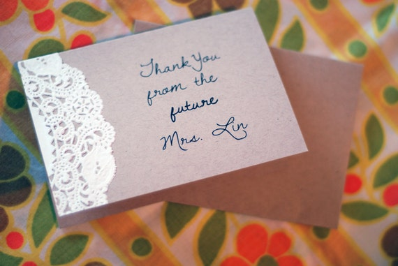 Personalized Note Cards - Custom Vintage Doily Thank You - Baby or Bridal Shower - From the Future - Soon to Be Mrs. - Rustic Wedding Gift