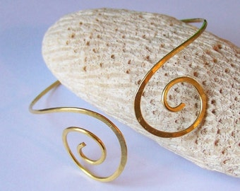 Gold Armlet - Upper Arm Bracelet - Hammered Double Down Swirl Brass Armband - Brass - Copper - Bronze - German Silver