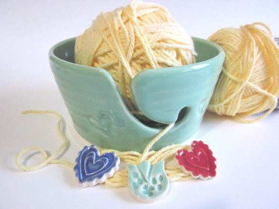 Ceramic Yarn bowl stamped with hearts, mint green, Ceramic Yarn holder, knitting bowl, handmade pottery