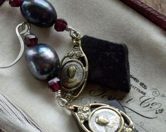 Vintage Assemblage French Medals Dangle Earrings