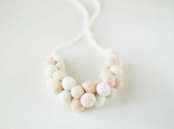 Creamy beige statement necklace - felt beaded bold chunky necklace
