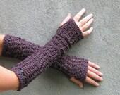 crochet fingerless gloves/ plum wine