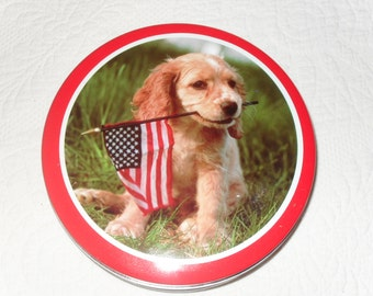 Tin 23 - Vintage 70s Puppy Dog with Flag Cookie Tin