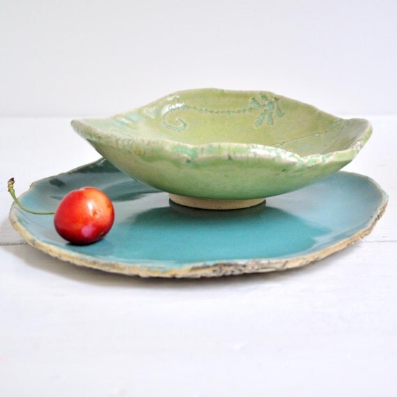 Ceramic bowl and hand built plate modern ceramic serving dinnerware set lime green turquoise