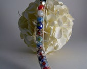 handmade hemp and faceted millefiori glass bracelet with flower button clasp
