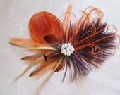 Wedding Hair Piece Fall Feather Fascinator Bridal Hair Clip peacock, bridesmaid hair piece, orange brown red autumn