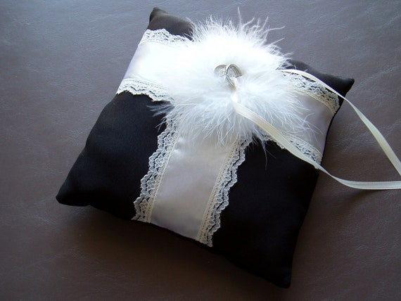 Ring Bearer Pillow BLACK and IVORY Feathered Wedding Ring Pillow bridal accessory decoration