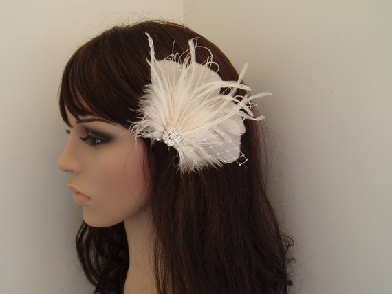 Ivory Wedding hair accessory, Bridal hair accessories, Wedding hair piece, Fascinator Clip, Ivory Hair Clip, hairclip