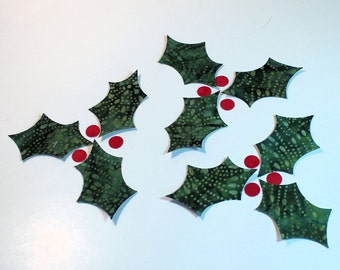 Fabric Applique Iron-Ons - Batik Holly Leaves and Berries