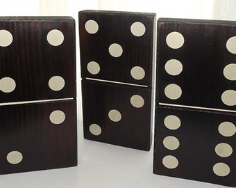 "3 pc. Black Wood Domino Set - 5 1/2"" x 11"" x 1 1/2"" thick"