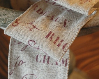 """Ribbon - Wine Words 2 1/2"""" wired Merlot on Linen by the yard"""