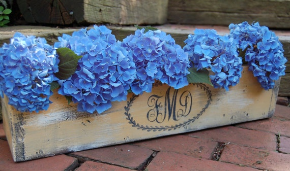 Monogrammed Planter Box -medium size- Do it Yourself  Wedding Centerpiece, Rustic Wedding Planter 24 inch