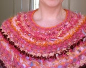 Knit Cowl Collar Shawl - Amanirenas / pink orange maroon