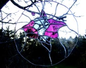 Stained Glass Christmas Purple Flower Tacca Bat Cat Panel Yule Solstice Mothers Day Wedding Birthday Home Decor Pagan OOAK Original Design©
