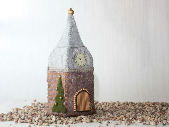 Wool Old Tower, Felted Miniature House, soft sculpture