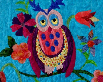 Owl Wall Art Quilt Sleepy Time Owl Quilted Wall Hanging Quilt Nursery Decoration Childrens Room Aqua Pink Yellow